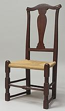 American Queen Anne Red-Stained Side Chair