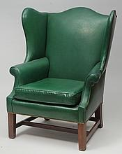 George III Style Mahogany and Green Leather Upholstered Wing Chair