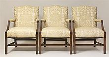 Three George III Style Carved Mahogany Library Armchairs