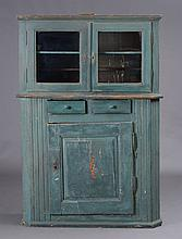 French Provincial Sea Green Painted Step-Back Cabinet