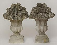 Pair of Cast-Stone Garden Urns