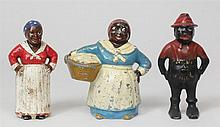 Three Painted Metal Figural Coin Banks