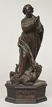 French Carved Wooden Figure of the Praying Virgin Trampling on a Dragon