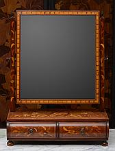 Dutch Mahogany, Walnut and Fruitwood Floral Marquetry Toilet Mirror