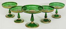 Group of Five Bohemian Emerald Green and Parcel-Gilt Glass Tazze