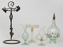 Medieval Style Leaded Glass Panel, Two Double-Neck Cruets, a Stemmed Tazza, and an Enamel-Decorated Green Glass Decanter and Wrought...