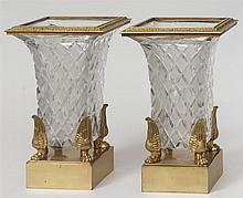 Pair of Empire Style Brass-Mounted Cut-Glass Urns