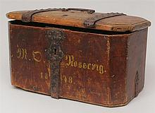 German Grain Painted and Iron-Mounted Strong Box