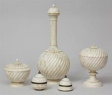 Five Indian Bone-Mounted Lidded Articles