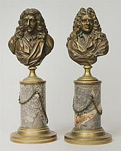 Pair of Bronze Busts of 17th Century French Playwrights, Moliere and Racine