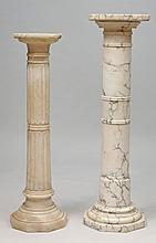 Italian Carved Marble Pedestal and a Ringed Marble Shaft