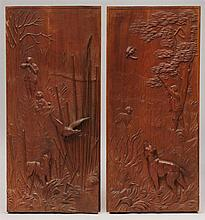 Pair of Relief-Carved Walnut Duck Hunt Scene Panels
