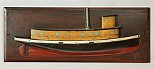 Painted Wood Half-Hull Model of a Tug Boat