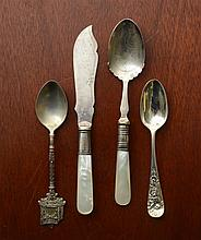 Set of Six English Silver Souvenir Spoons, Walacca Volunteer Rifles...; and a Set of Six Continental After Dinner Coffee Spoons