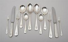 INTERNATIONAL SILVER CO. STERLING SILVER FLATWARE SERVICE FOR TWELVE, IN THE MARTEL PATTERN