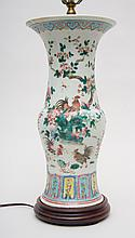 CHINESE EXPORT FAMILLE-ROSE PORCELAIN BALUSTER-FORM VASE, MOUNTED AS A LAMP