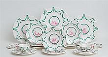FRENCH GLAZED POTTERY PARTIAL BREAKFAST SERVICE