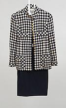 CHANEL NAVY AND CREME WOOL BLAZER WITH GOLD BUTTONS AND A NAVY SKIRT