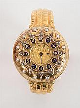 TISSOT, GENEVE 18K YELLOW GOLD, DIAMOND, PEARL AND ENAMEL HUNTER CASE WATCH
