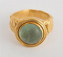 TEOTS 22K YELLOW GOLD AND CABOCHON EMERALD RING