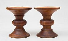 PAIR OF TIME-LIFE TURNED-WOOD STOOLS, CHARLES & RAY EAMES