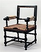 Italian Baroque Style Ebonized Armchair