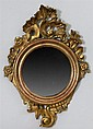 Italian Rococo Style Carved Giltwood Small Circular Mirror