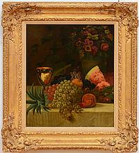 WILLLIAM MERRITT CHASE (1849-1916): STILL LIFE WITH FRUIT AND FLOWERS