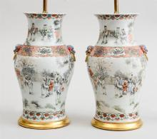 PAIR OF CHINESE PORCELAIN BALUSTER-FORM VASES, MOUNTED AS LAMPS