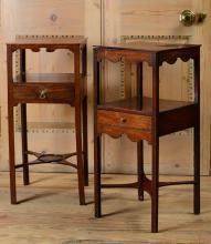 TWO GEORGE III MAHOGANY BEDSIDE TABLES
