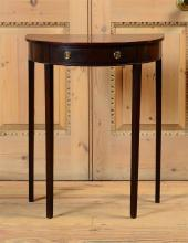GEORGE III MAHOGANY DEMILUNE SIDE TABLE