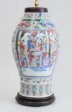 CANTON FAMILLE ROSE PORCELAIN BALUSTER-FORM VASE, MOUNTED AS A LAMP