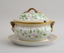 ROYAL COPENHAGEN PORCELAIN TUREEN COVER AND STAND IN THE 'FLORA DANICA