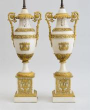 PAIR OF LATE EMPIRE ORMOLU-MOUNTED MARBLE URNS, MOUNTED AS LAMPS