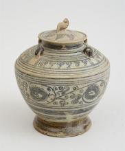 SOUTHEAST ASIAN BLUE-DECORATED POTTERY JAR AND COVER