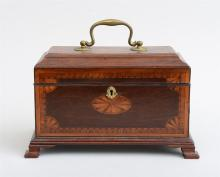 GEORGE III INLAID MAHOGANY TEA CADDY