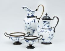 Copenhagen Blue and White Porcelain Four-Piece Coffee Set