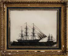 Victorian Reverse Painting on Glass, H.M.S. Wacousta