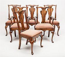 Set of Six George III Style Walnut Dining Chairs, Modern