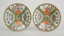 PAIR OF CHINESE ROSE MEDALLION PORCELAIN SOUP PLATES