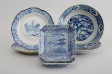 THREE PAIRS OF CHINESE BLUE AND WHITE PORCELAIN PLATES
