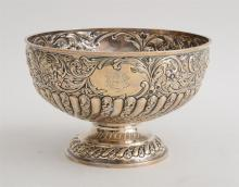ENGLISH REPOUSSÉ AND MONOGRAMMED SILVER FOOTED PUNCH BOWL