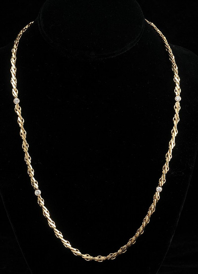 14K GOLD AND SIMULATED DIAMOND NECKLACE