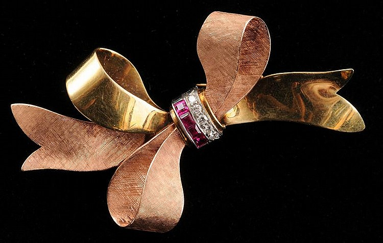 RETRO 14K PINK AND YELLOW GOLD BOW BROOCH