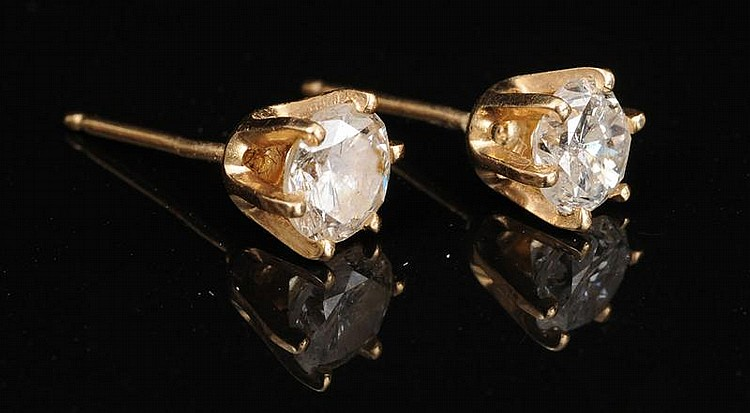 PAIR OF 14K GOLD AND DIAMOND EAR STUDS