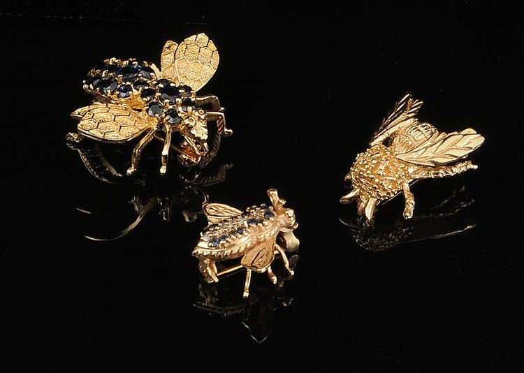 FOUR 14K GOLD INSECT PINS