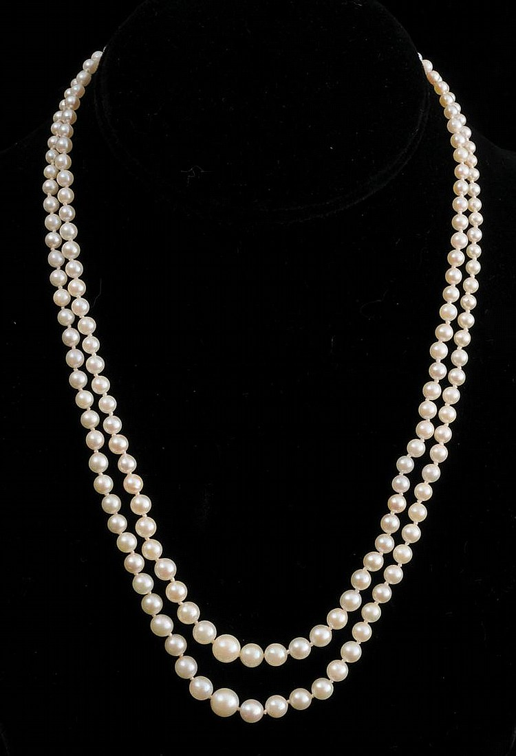 TWO BEADED GRADUATED PEARL NECKLACES