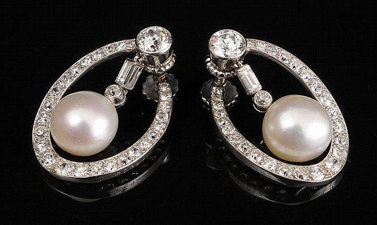 PAIR OF PLATINUM, DIAMOND AND PEARL EARRINGS