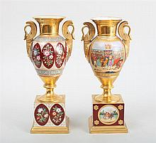 PAIR OF PARIS PORCELAIN SCENIC VASES