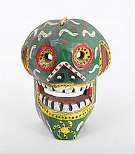 LATIN AMERICAN CARVED AND PAINTED GROTESQUE MASK